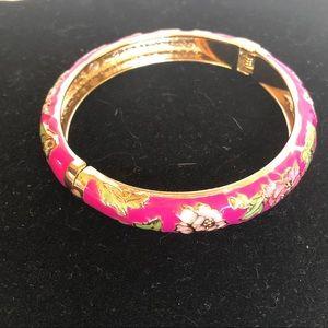 Jiu Long Xing enamel floral bracelet